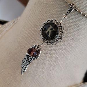 Jewelry - Alphabet initial K typewriter charm wing necklace